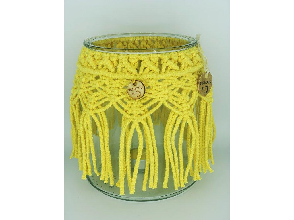 Svícen macramé se srdíčky žlutý 1