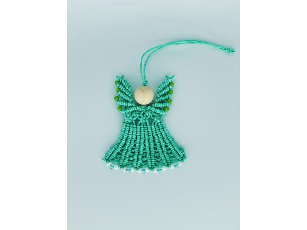 Andílek mini macramé zelený 1