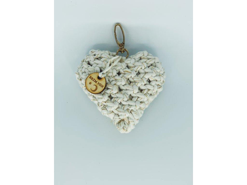 Přívěšek srdce bílé se zlatou nití 1