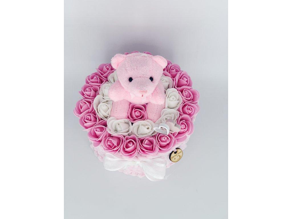 Valentýnské růže s růžovým medvídkem