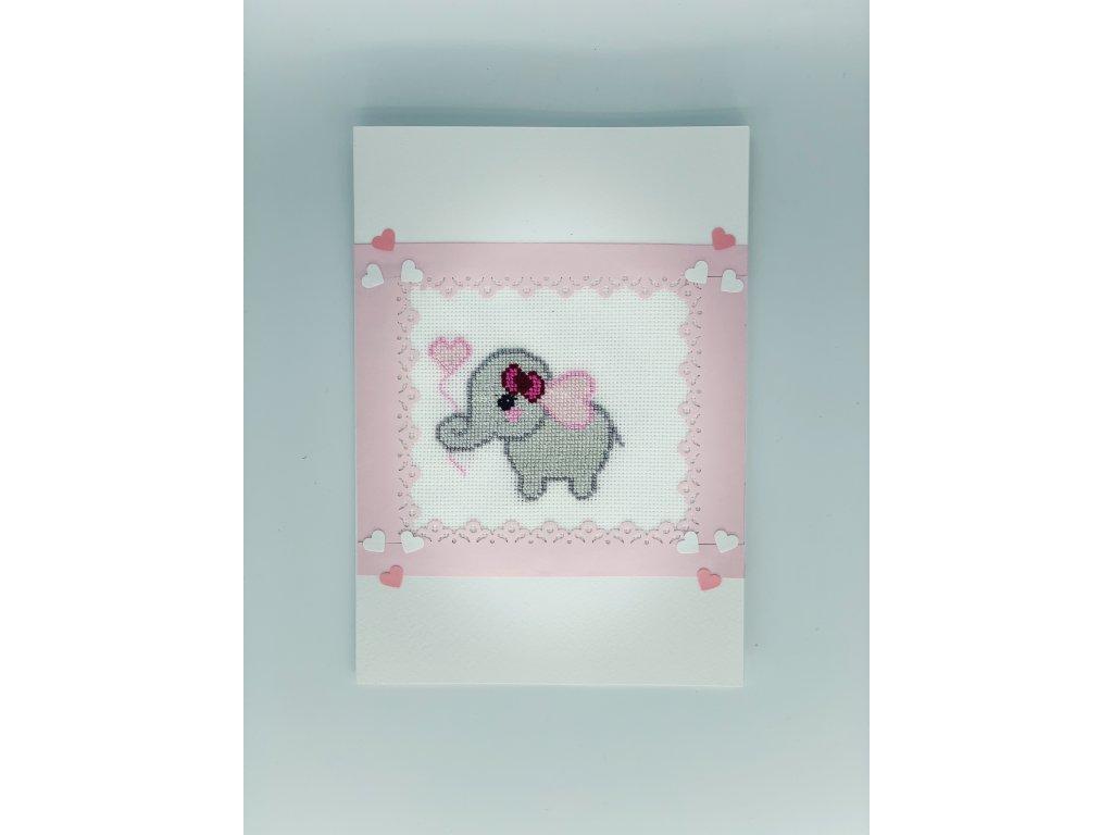 Přání slon růžové 1