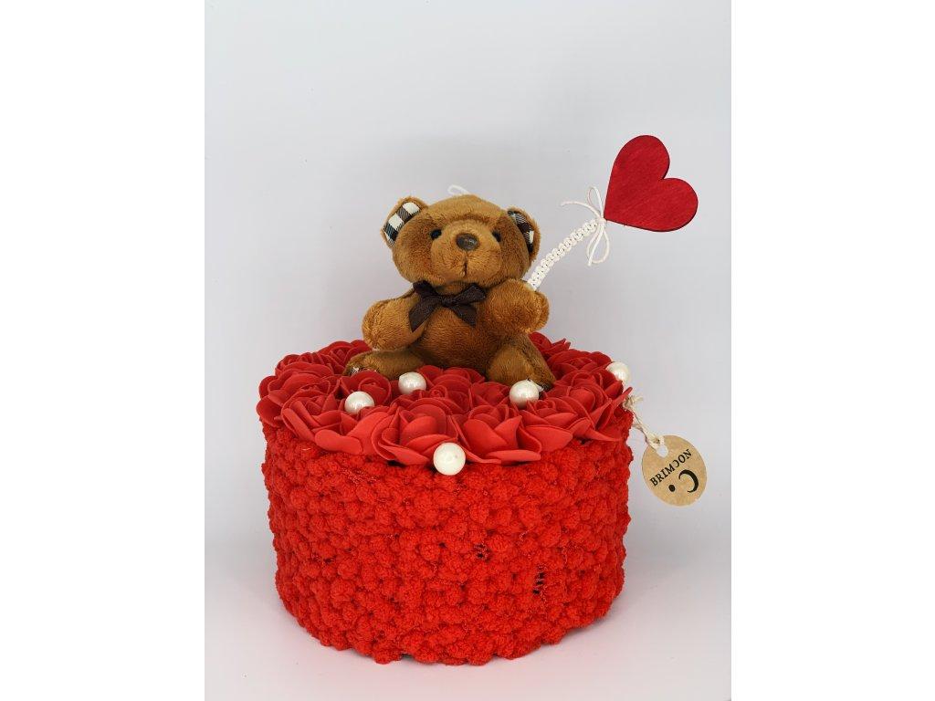 Valentýnské červené růže s medvídkem 1