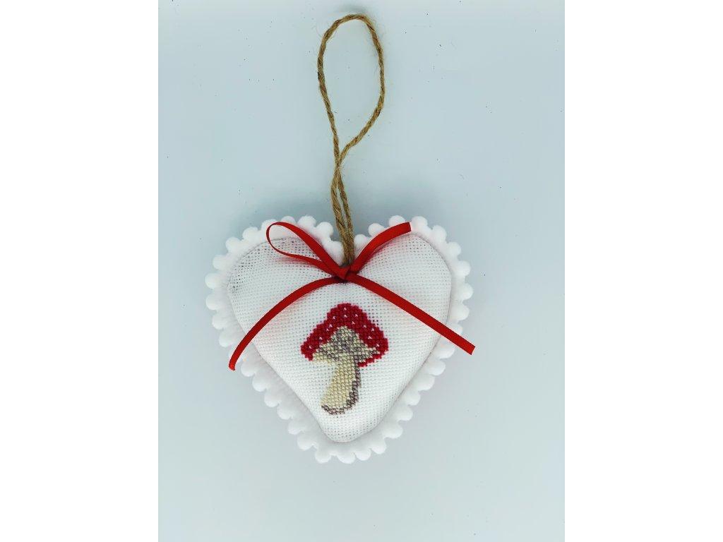 Závěsná dekorace lemované srdíčko s muchomůrkou 4