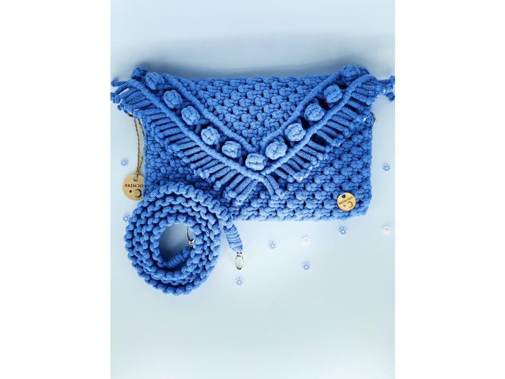 Kabelka s poupaty macramé modrá 2