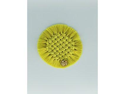Podtácek macramé kruhový žlutý pr. 14cm 1