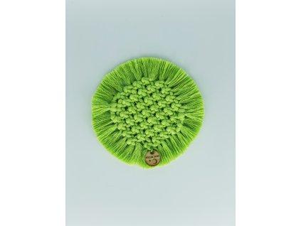Podtácek macramé kruhový zelený pr. 14cm 1