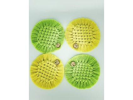 Podtácky macramé kruhové žluté a zelené sada 4ks 14cm 4