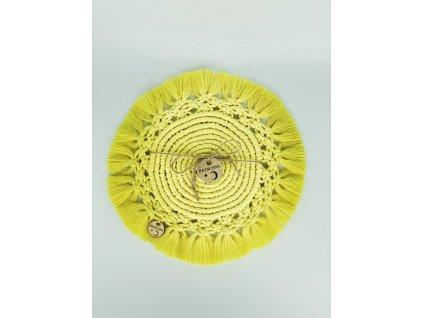 Podtácek macramé kruhový žlutý velký 1