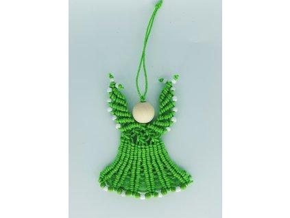 Andílek mini macramé světle zelený 1