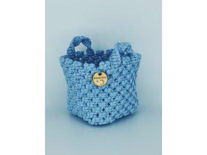 Košíček macramé modrý 1