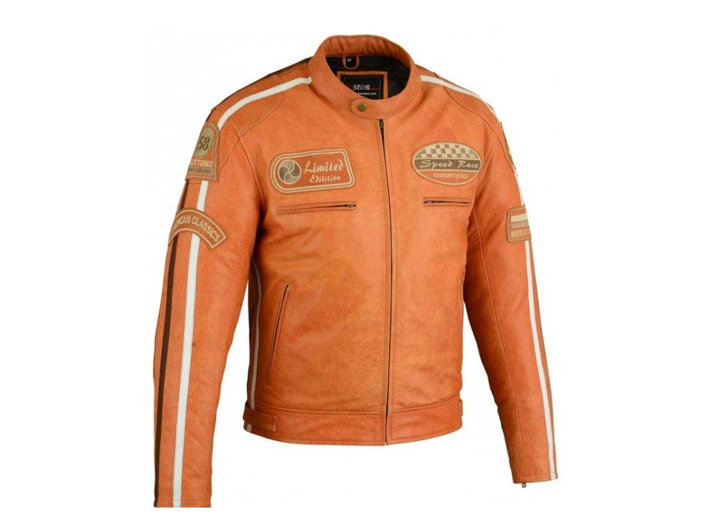 Pánská Kožená Bunda Orange LTD Brixton Oranžová