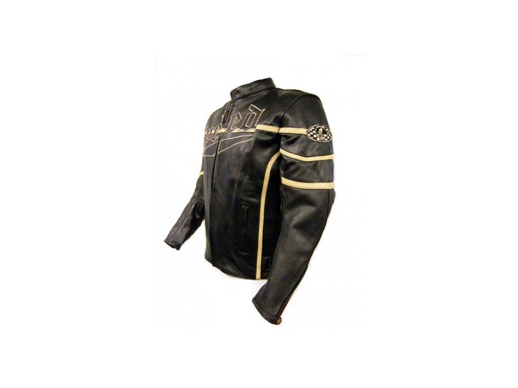 Pánská kožená bunda Speed s výšivkou černá