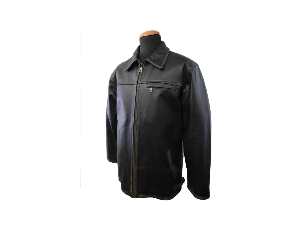 Pánská kožená bunda Jasper Rub-off černá