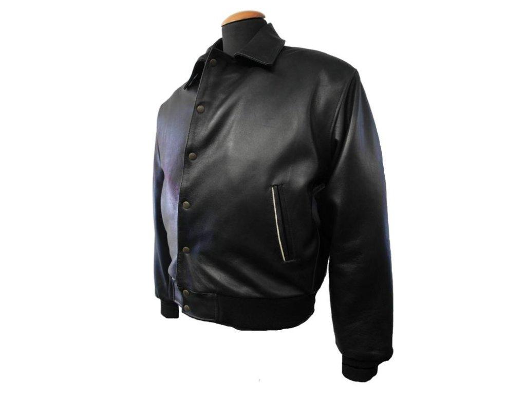 Pánská kožená bunda Baseball černá