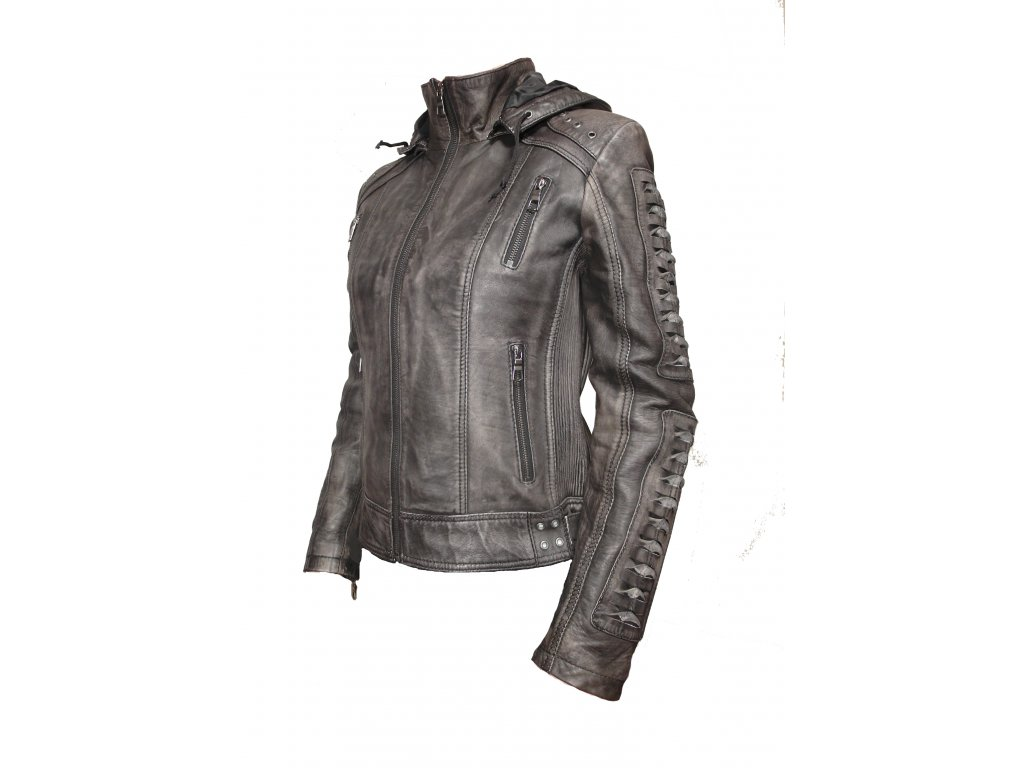 Dámská kožená bunda Morgana, Brixton, šedá