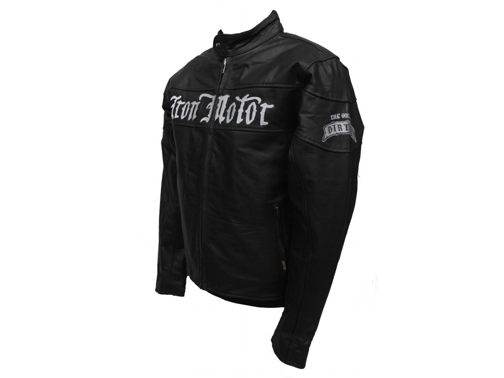 Pánská kožená bunda Iron moto černá