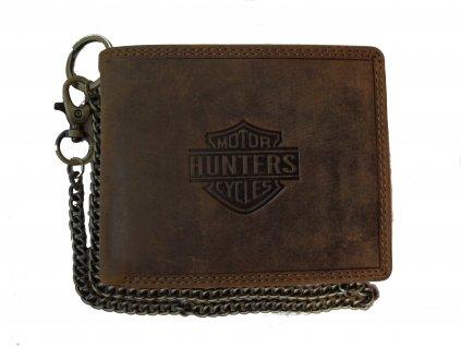 Pánská kožená peněženka + řetěz hnědá