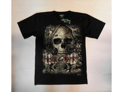 Pánské triko Lebka, Brixton, černé