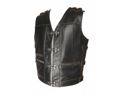 Pánská kožená vesta řemínky hnědá