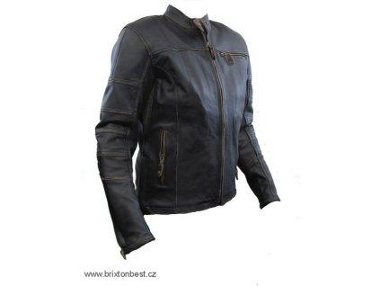 Dámská kožená bunda Raw Girl, Brixton, černá