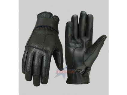 Moto rukavice kožené, Star, 12P, Brixton, černé