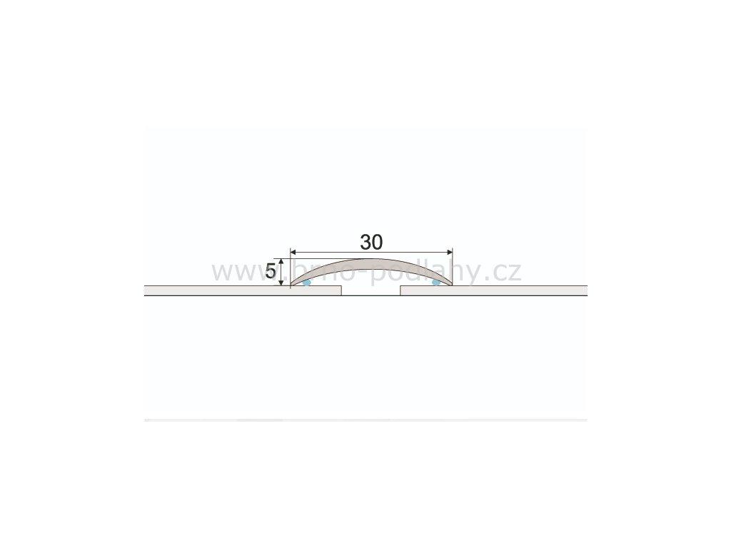 Přechodový profil 30 mm, oblý - samolepící