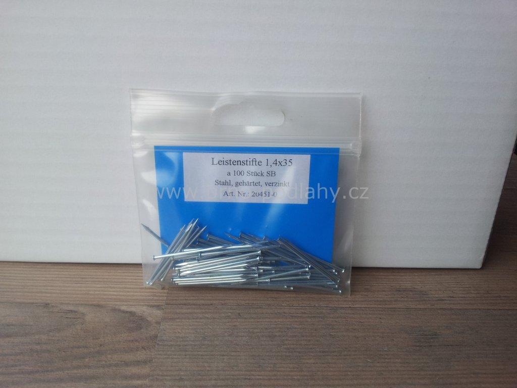 Hřebíky lištové 1,4 x 35 pozink 100 ks