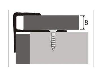 Schodová hrana 8 mm pro laminát, šroubovací
