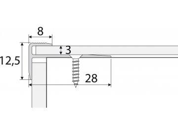 Schodová hrana - zásuvná 28 x 12 mm do 3 mm
