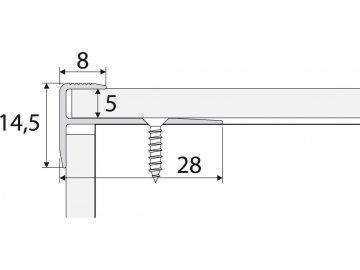 Schodová hrana - zásuvná 28 x 15 mm do 5 mm