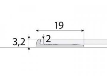 Ukončovací profil 2 mm pro PVC, vinyl, koberce