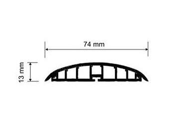 Přechodový profil plastový pro vedení kabelů 74 mm, oblý - samolepící