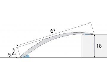 Přechodový profil 61 mm, oblý - samolepící