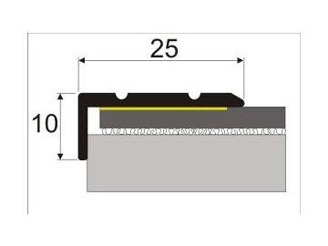 Schodová hrana 25 x 10 mm, samolepící