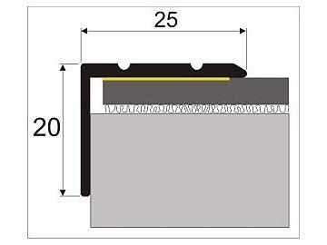 Schodová hrana 25 x 20 mm, samolepící