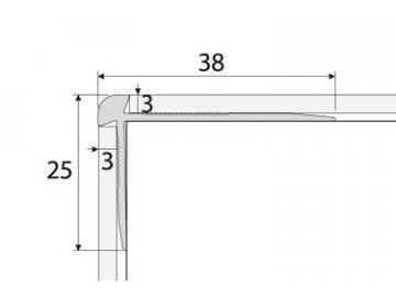 Schodová hrana - oboustranná 38 x 25 mm do 3mm