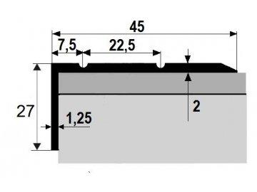 Schodová hrana 45 x 27 mm, samolepící