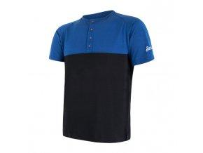 triko krátké pánské SENSOR MERINO AIR PT s knoflíčky modro/černé