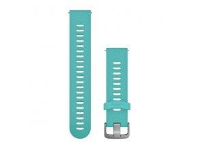 Řemínek Quick Release 20mm, silikonový modrý, stříbrná přezka