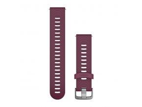 Řemínek Quick Release 20mm, silikonový vínový, stříbrná přezka