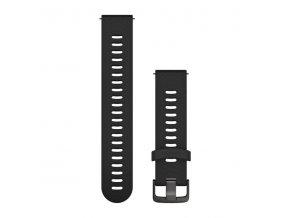 Řemínek Quick Release 20mm, silikonový černý, tmavá přezka