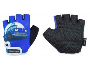 rukavice FORCE KID dětské, modré-auto