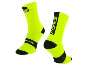 ponožky FORCE LONG PRO, fluo-černé