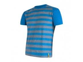triko krátké pánské SENSOR MERINO ACTIVE modré pruhy