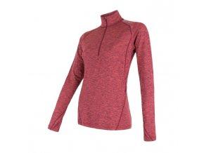 triko dlouhé dámské SENSOR MOTION zip růžové