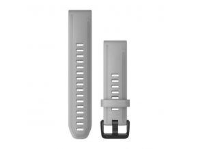 Řemínek pro fenix6S - QuickFit 20, silikonový, šedý, černá přezka