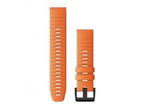 Řemínek pro fenix6 - QuickFit 22, silikonový, oranžový, černá přezka