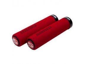 SRAM Locking gripy pěnové 129mm červené s Single černé Clamp a koncovky řidítek