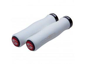 SRAM Locking gripy Contour pěnové 129mm bílé s Single černé Clamp a koncovky řidítek