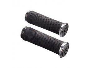 Locking gripy pro Grip Shift Integrated 100mm s stříbrné objímky a koncovka řidítka